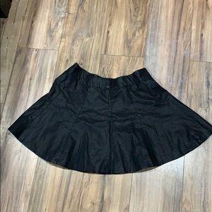 Pleated pleather mini skirt